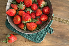 Bowl of freshly harvested ripe red strawberries Stock Photo