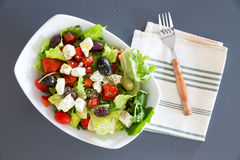 Bowl of freshly seasoned Mediterranean salad Royalty Free Stock Image