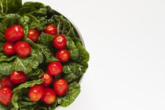 A bowl of freshly washed vegetables and fruits. A close-up shot of some leafy green and tomatoes in a metal bowl royalty free stock photography