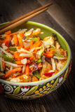 Bowl of fried chicken with vegetables. Stock Photography