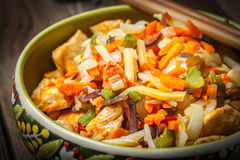 Bowl of fried chicken with vegetables. Royalty Free Stock Photo