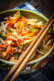Bowl of fried chicken with vegetables. Royalty Free Stock Images