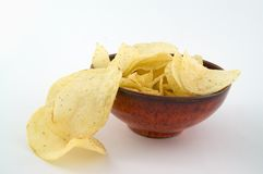 Bowl of fried chips. Bowl of fried chips on the white background Royalty Free Stock Images