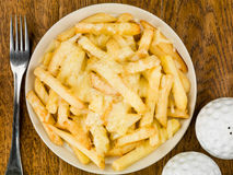 Bowl of Fried and Grilled Cheesy Chips Royalty Free Stock Photos