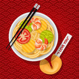 Bowl of fried noodles with chopsticks and fortune cookie. Bowl of stir-fried chinese noodles with chopsticks and fortune cookie with I love you message vector illustration
