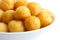 Bowl of fried small potato balls. royalty free stock photography