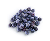 Bowl of frozen domestic blueberries  on white background Royalty Free Stock Photos