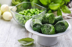 Bowl of frozen spinach Royalty Free Stock Photo