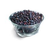 Bowl of frozen wild blueberries isolated on white background Royalty Free Stock Photography