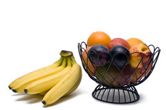 Bowl of fruit and bananas Stock Photos