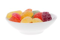 Bowl of fruit candy isolated Stock Photography