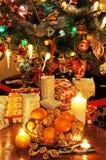 Bowl of fruit and Christmas tree. Stock Photo