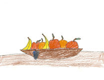 Bowl of Fruit Drawing Stock Image