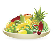 Bowl of fruit illustration Stock Photos