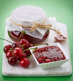 Bowl of fruit jam with cherries Stock Images