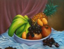 Bowl of Fruit Oil Painting Stock Photography