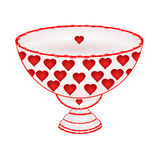 Bowl of fruit with red hearts  vector Royalty Free Stock Photos