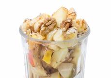 Bowl of fruit salad isolated on white Stock Images