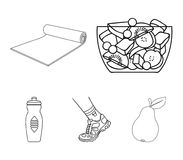 A bowl of fruit salad, a mat, a sneaker on the leg, a bottle of water.Fitness set collection icons in outline style. A bowl of fruit salad, a mat, a sneaker on Stock Image