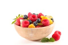 Bowl of fruit salad. On white Stock Photos