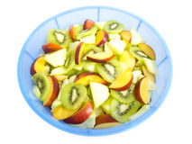 Bowl of fruits. Fresh summer fruits mixed up as a salad Stock Photo