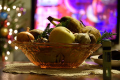 Bowl of fruits. A beautiful Christmas bowl of fruits Royalty Free Stock Photography