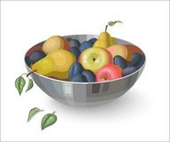 Bowl with fruits, isolated on white Stock Photography