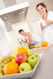 Bowl with fruits,  in the kitchen Royalty Free Stock Photo