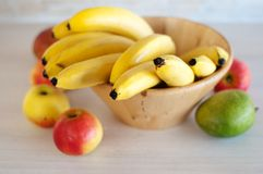 Bowl with fruits. Top view of the fruits in a bowl royalty free stock photography