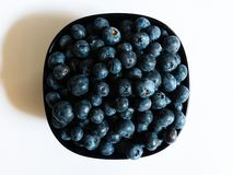 Bowl full of blueberries on white background royalty free stock images