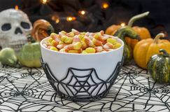 Bowl full of candy corn in a Halloween theme Stock Photo