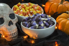 A bowl full of candy corn in a Halloween theme Stock Images