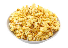 Bowl full of caramel popcorn. Isolated Royalty Free Stock Photos