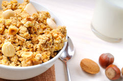 Bowl full of cereal with dried fruits top view Stock Photography
