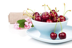 Bowl full of cherries Royalty Free Stock Image