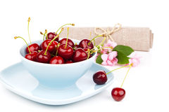 Bowl full of cherries Stock Photography