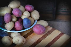 Bowl full of colorful potatoes. Bowl of red, yellow, and purple potatoes on a beautiful handmade cutting board and rustic background Royalty Free Stock Images