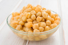 Bowl full of cooked chickpeas Royalty Free Stock Photo