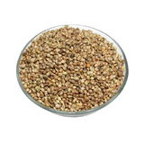 Bowl full of hemp seeds isolated Stock Image