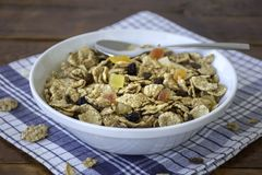 A bowl full of muesli cereals with spoon Royalty Free Stock Photography