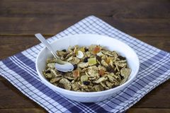 A bowl full of muesli cereals with spoon Royalty Free Stock Photos