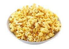 Bowl Full Of Caramel Popcorn. Isolated Royalty Free Stock Photos