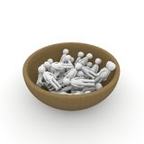 A bowl full of people Royalty Free Stock Image