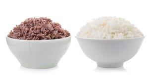 Bowl full of rice on white background Stock Photo