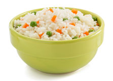 Bowl full of rice on white Royalty Free Stock Image
