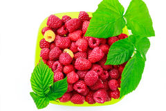 Bowl full of ripe raspberries isolated on white background. Stock Image