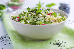 Bowl full of salad. With millet Stock Photography