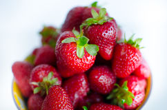 Bowl full of strawberries Royalty Free Stock Photos