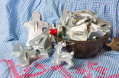 Bowl full of vintage cookie cutters Stock Photography
