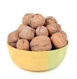 Bowl full with walnuts. Royalty Free Stock Photography